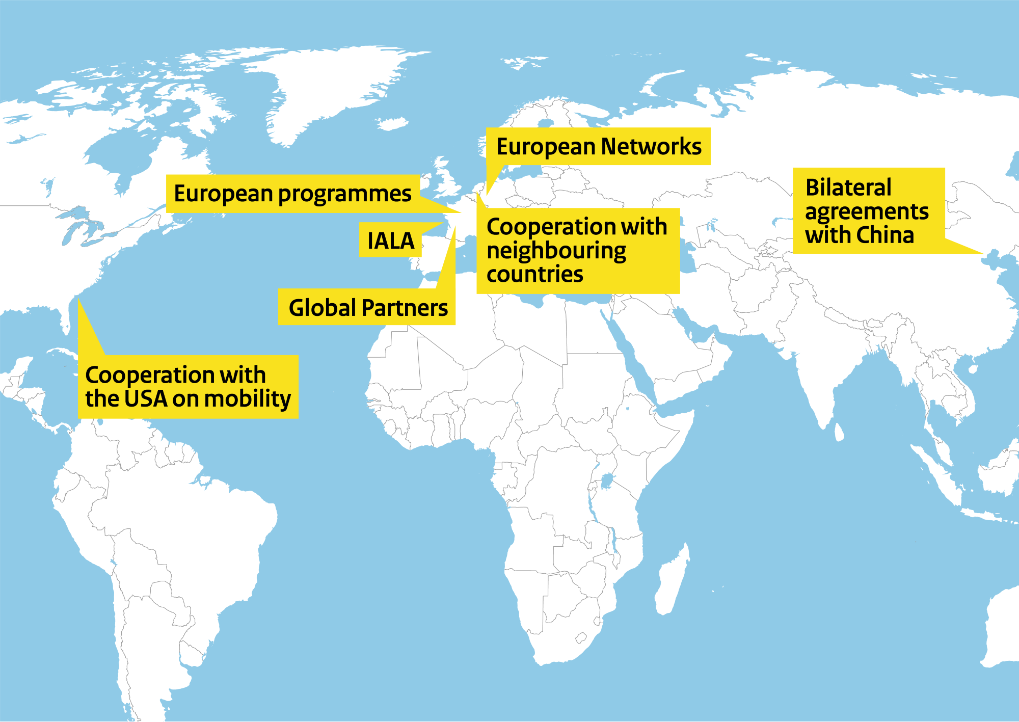 This map of the world shows our worldwide mobility partnerships. There are clickable areas to proceed to the individual programmes.