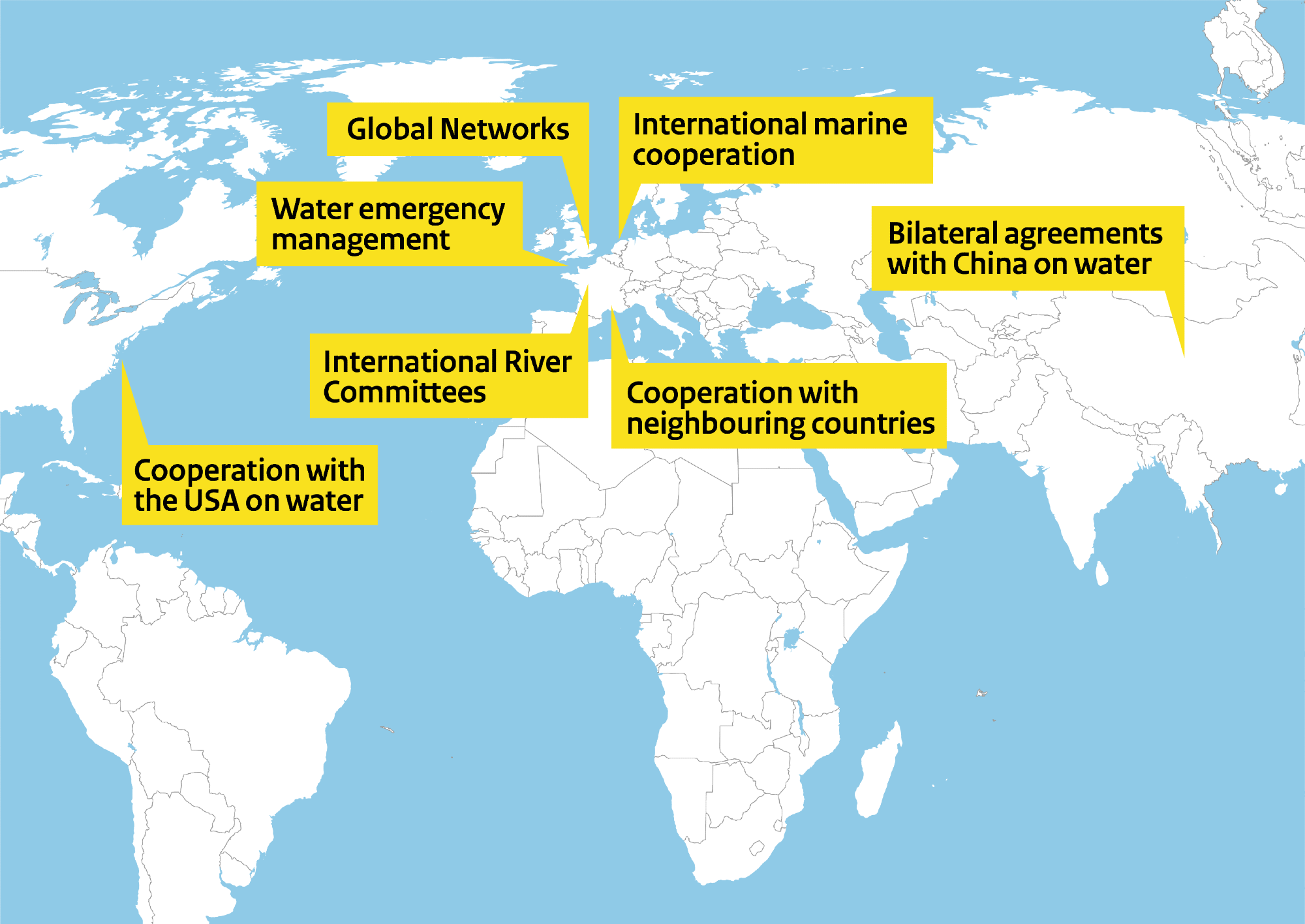 This map of the world shows our worldwide water management partnerships. There are clickable areas to proceed to the individual programmes.